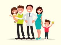 Dentista de The do dentista da família e seus pacientes de sorriso Vetor IL ilustração do vetor
