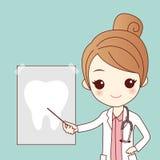 Dentista del fumetto con il raggio del dente illustrazione vettoriale