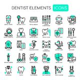 Dentista Elements, iconos perfectos del pixel stock de ilustración