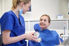 Dentista feliz que muestra el modelo del mandíbula a la muchacha paciente Imágenes de archivo libres de regalías