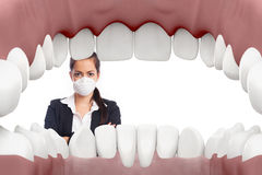 Dentista femminile che esamina bocca illustrazione vettoriale
