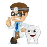 Dentista Giving Thumb Up que se inclina en un diente stock de ilustración