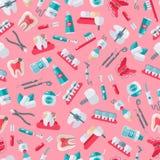Dentista inconsútil Pattern en fondo rosado Fotografía de archivo