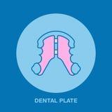 Dentista, linea icona del piatto dentario, allineamento di ortodonzia di denti Segno dell'attrezzatura di trattamento del dente,  Fotografia Stock Libera da Diritti