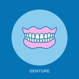 Dentista, linea icona di ortodonzia Protesi dentaria, segno di ortopedia del dente, elementi medici La sanità assottiglia lineare Immagine Stock