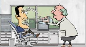 Dentista que intenta fijando un problema Imagen de archivo