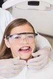 Dentista que põe o retractor da boca sobre a menina Imagens de Stock Royalty Free