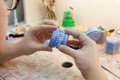 Dentista que trabaja con el molde dental en la clínica Fotos de archivo libres de regalías