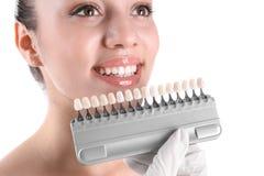 Dentista que verifica a cor dos dentes da jovem mulher imagem de stock royalty free