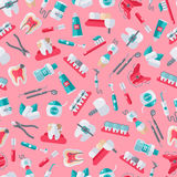 Dentista senza cuciture Pattern su fondo rosa Fotografia Stock