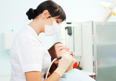 Dentista sul lavoro Immagine Stock