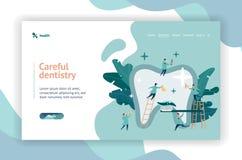 Dentistas pequenos do grupo que importam-se o grande página da web do dente ilustração do vetor