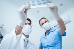 Dentistas que olham o raio X fotos de stock