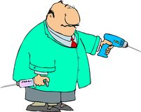 Dentiste avec un grands foret et seringue Photo libre de droits
