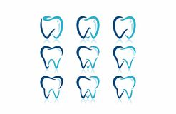 Dentiste dentaire Clinic Logo Icon Set Images libres de droits