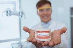 Dentiste masculin beau travaillant à sa clinique images libres de droits