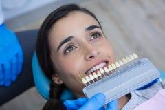 Dentiste tenant le matériel médical tout en examinant la femme photos stock