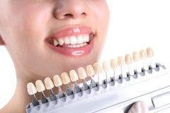 Dentiste vérifiant la couleur des dents de la jeune femme image libre de droits
