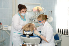 Dentistry. The medical treatment at the dentist office stock images