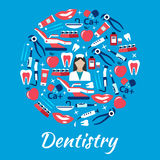 Dentistry abstract symbol with medical flat icons Stock Photo