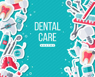 Dentistry Banner With Flat Sticker Icons Stock Photography