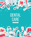 Dentistry Banner With Flat Sticker Icons Stock Photo