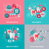 Dentistry Banners Set With Flat Icons. Royalty Free Stock Images