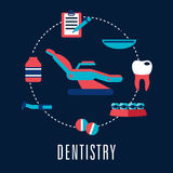 Dentistry concept with dental chair and medical Stock Photos