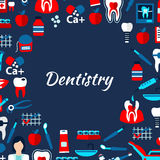 Dentistry design template with flat medical icons Stock Image