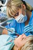 Dentistry, drilling the tooth Royalty Free Stock Photography