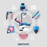 Dentistry Flat Design Concept Stock Images