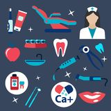 Dentistry and hygiene flat icons Royalty Free Stock Photo