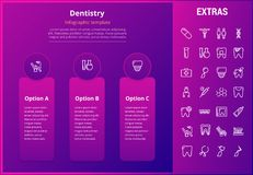 Dentistry infographic template, elements and icons. Dentistry options infographic template, elements and icons. Infograph includes line icon set with dentist Stock Photo