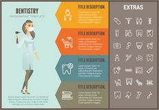 Dentistry infographic template, elements and icons. Dentistry infographic options template, elements and icons. Infograph includes line icon set with dentist Stock Photography