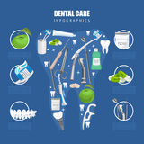 Dentistry infographics with equipments on tooth shape Stock Images