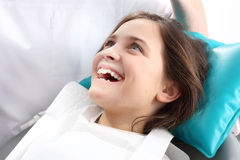 Dentistry, joyful child in the dental chair Royalty Free Stock Photography