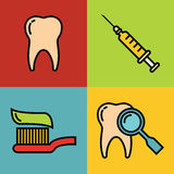 Dentistry medical cartoon icons on color background Stock Image
