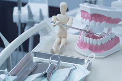 Dentistry. Medical equipment of dental instruments, Dental instruments, dental equipment, in the dental clinic. Have mannequin figures in picture stock photography