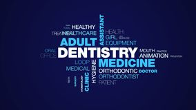 Dentistry medicine adult assistant care caries chair checkup clean clinic cosmetic animated word cloud background in uhd