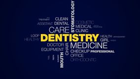 Dentistry medicine care stomatology caries teeth whitening healthcare dentist mouth hygiene animated word cloud stock footage