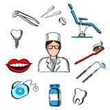Dentistry medicine with dentist and objects Royalty Free Stock Photos