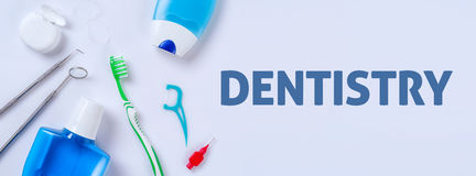 Dentistry. Oral care products on a light background - Dentistry stock images