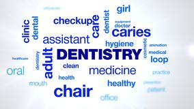 Dentistry patient, dental, dentist, hygiene, teeth, animated word cloud, text design animation. royalty free stock images