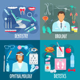 Dentistry, urology, ophthalmology, dietetics icons Royalty Free Stock Photography