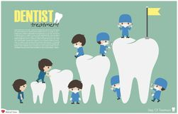 Dentists climb to top of teeth  success and attempt concept  . Vector . Flat design Royalty Free Stock Photos