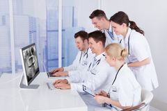 Dentists examining jaw xray on computer Royalty Free Stock Photo