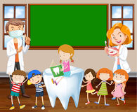 Dentists teaching children about cleaning teeth. Illustration Stock Photo
