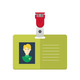 Dentity card of the person, badge, identification card. flat design. Stock Photo
