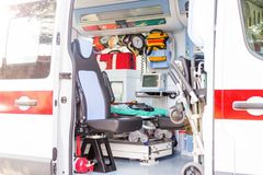 Dentro da ambulância Fotografia de Stock Royalty Free