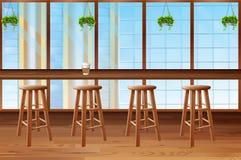 Dentro da cafetaria com janela de vidro Imagens de Stock Royalty Free